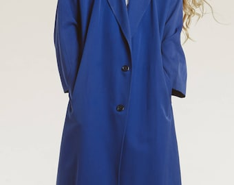 minimalist trench coat / 90s violet blue /