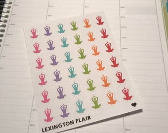 Set of 36 Yoga Icon Planner Stickers For Your Planner or Calendar. Works Great for ECLP and happy planner