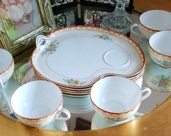 "Vintage Nortaki Snack Set...Beautiful design...""Morimura"" M designer stamped...Rare Estate Sale Find..Set of 5..Rose design...1920's"
