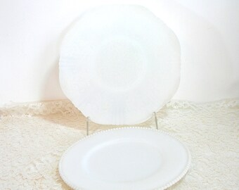 Milk Glass Plates - Beaded Edge - Moonstone - Lacy - Cake Plates