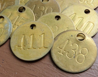 Three (3) SmALL Brass ROUND Primitive Rustic Shabby Numbered Tags Vintage Patina Charm Finding Number