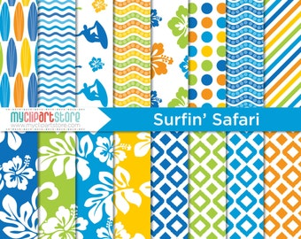 Digital Paper - Surfin' Safari, Beach, Surfing, Summer Paper, Scrapbook Paper, Digital Pattern, Commercial Use, JPEG, PDF