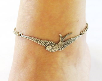Steampunk Sparrow Anklet Sterling Silver Ox and Antiqued Brass Ox Finishes Ankle Bracelet