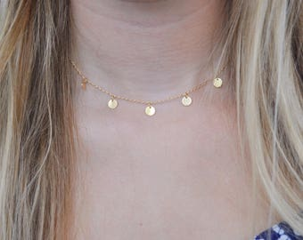 Dainty Gold Filled Disc Choker Necklace | Gold charm necklace | Layering | Uk