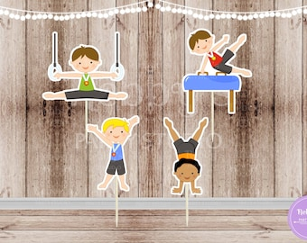 Boys Gymnastics Party - Set of 12  Assorted Boy Gymnast Double Sided Cupcake Toppers