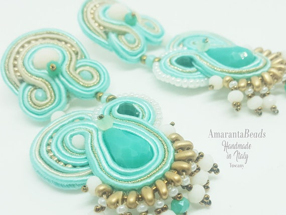 Soutache earrings in the soft colors of blue and teal with champagne-gold trim  (  sewn -not glued!)
