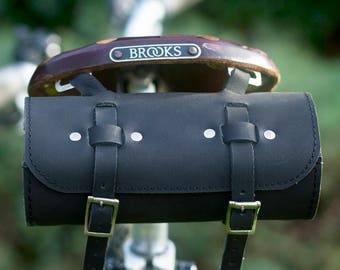 Bicycle Saddle Roll Tool Bag Natural Leather Saddle Bag Handcrafted Leather