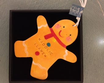 Gingerbread Man.Welsh Hanging Decoration.Large Christmas tree decoration/ornament.Nadolig Llawen.Stocking Filler.Hand painted.Handmade in Wa