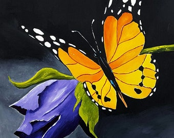 "Original Acrylic Painting, Butterfly and Flower Art, 12x9"", on Gessobord, by Michael Hutton"