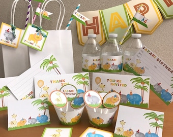 Safari party package printables jungle party packages zoo party kit safari birthday invitations party kits