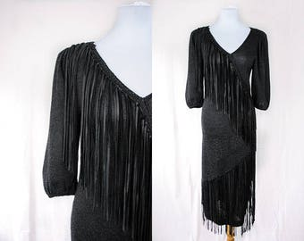 1980s Leather Fringe Dress // 80s Punk Rock Dress // Fringe Dress // Vintage Leather Dress / Witchy Dress / Goth Dress / Black Leather Dress