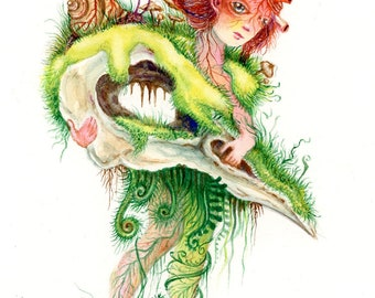 Woodland Fairy with Skull Painting