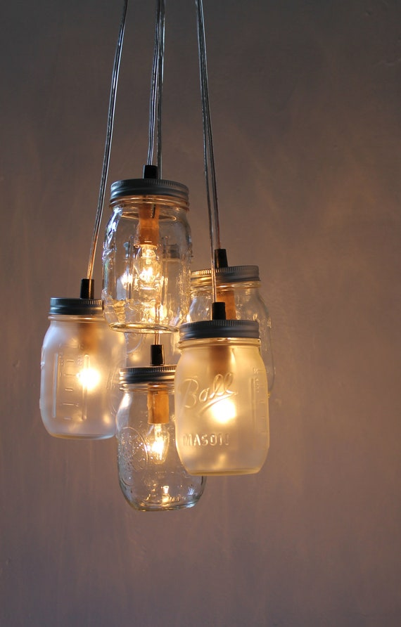 mason jar chandelier hanging mason jar lighting fixture. Black Bedroom Furniture Sets. Home Design Ideas