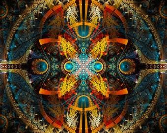 STAR MATRIX - Tapestry, Wall Hanging - Original Pumayana Visionary Healing Art, Spiritual, Psy, Shamanic, Sacred Geometry, Entheogenic Art
