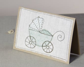 Baby Shower Card, New Baby Card, Pram Baby Shower, Stroller Card, Embroidered Card, Baby Carriage, Baby Shower Invitation, Green Baby Card