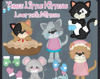 Three Little Kittens 2017 - Instant Download - Commercial Use Digital Clipart Elements Graphics Set