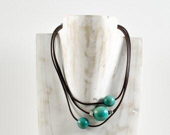 Necklace blue Jade - jewel ELOA / Tagua / vegetable ivory / natural / ethical / fair trade / woman / Ecuador