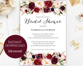 Bridal Shower Invitation, Editable, Printable Bridal Shower Invitation, Fall Bridal Shower, Marsala Bridal Shower, Instant Download, PDF