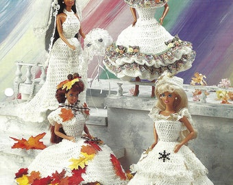 Four Seasons Crochet Dresses for Barbie and Fashion Dolls from Annie's Fashion Doll Crochet Club NEW PATTERN 4 styles by Joyce Bishop