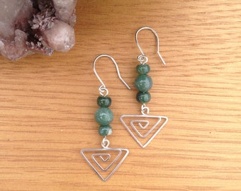 Triangle arrow earrings with moss agate