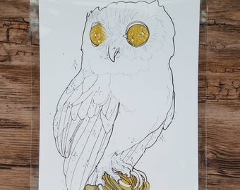 Screech Owl Illustration Print