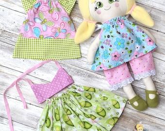 Rag Doll - Cloth Doll - Fabric Doll - Handmade - Soft Doll - Dress up Doll