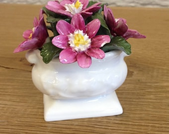 Vintage Aynsley Small Floral Posy in a Pedestal Vase - Blue, Green, Yellow and Pink Roses in a Footed Vase. Lovely Item in Good Condition