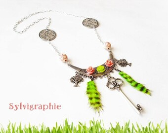 Necklace feathers and keys