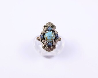 Vintage Faux Turquoise Ring - Silver Tone Ring With Faux Turquoise In An Ornate Setting, Vintage Costume Jewellery