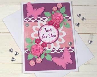 floral card, love card, birthday floral card, floral birthday card for mum, card with flowers, floral card, 3D flowers card