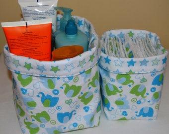 set of 2 baskets elephants/stars
