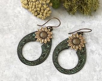 Hoop Earrings, Verdigris Hoops, Daisy, Boho Earrings, Bold Teardrop, Statement Earrings, Large Hoops, Bohemian, Gypsy Earrings, Etched