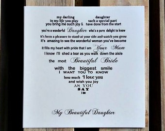 Daughter Card, To Bride from Mum, Daughter's Wedding Day card, Mother Daughter, Card from Mom on Daughters Wedding Day