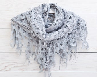 Lace Scarf, Gray Shawl, Fashion Scarf, bridesmaid gift, girlfriend gift, Triangle Scarf, Many color variations
