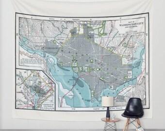 Washington DC Map Wall Tapestry - Wall hanging - Washington DC city map, vintage map, blue gray, streets, detailed, capitol USA