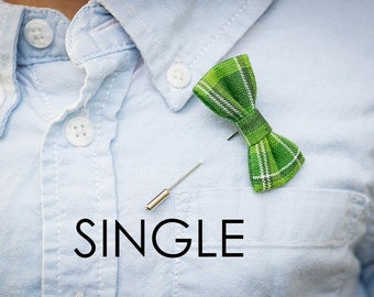 """Bow Tie Boutonniere Lapel Pin 2"""" Mini Bow Tie Patterned SINGLE Bow Tie Fabric Lapel Pin"""