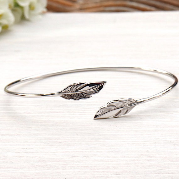 Feather Bangle Bracelet for women 925 sterling silver