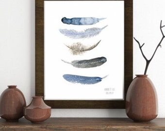 Minimalist art print. Watercolor feather art work. Feather art print from original feather watercolor painting. Bird feather art home decor.