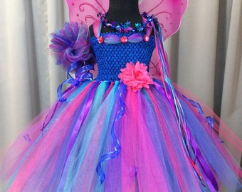 Royal blue, turquoise, fuchsia, & purple fairy tutu dress w/crown, wand, wings; multi color fairy costume for girls; birthday gift for girls