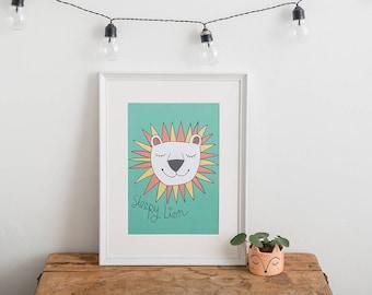 Children's Wall Art, Nursery Art, Bedroom Print, Gender Neutral Baby, Nursery Decor, Kids Room Print, Jungle Nursery decor, Lion Print