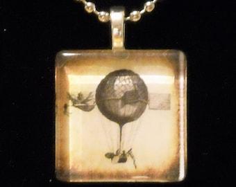 Steampunk Sepia 1800's Hot Air Balloon Glass Tile Necklace