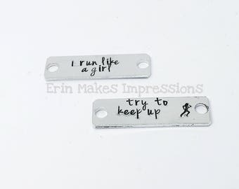 I run like a girl shoe tags, running shoe charms, runner jewelry, running gift, marathon gift, fitness motivation