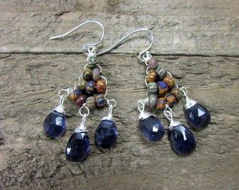 Iolite Earrings, Wire Wrapped Gemstone Dangle