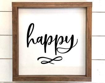 Happy Wood Sign, Farmhouse Style Decor, Home Decor