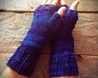 Women's blue fingerless gloves - one of a kind