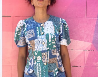 Vintage 80s Top/ 80s Another Thyme Blue Green White Mixed Print Top/ Puffed Short Sleeves/ Pearl Buttons Blouse/ S M