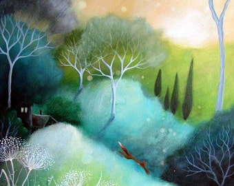 A fairytale  art print .'Homeward' by Amanda Clark. Summer time, landscape art
