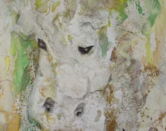 Original Sweet Cow abstract watercolor painting hand painted by Texas artist signed size 9x12 inches