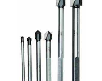 New 6PC C3 Carbide Tips Glass & Tile Drill Bits cut glass plastics formica ceramics sizes  1/8 in, 3/16 in, 1/4 in, 5/16 in, 3/8 in, 1/2 in.
