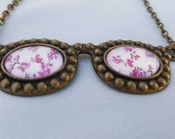 Cabochon necklace - Bezel floral